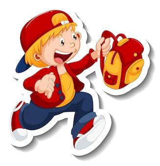 Plantilla de etiqueta con un personaje de dibujos animados de niño estudiante feliz aislado