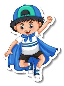 Plantilla de etiqueta con un personaje de dibujos animados de niño superhéroe aislado