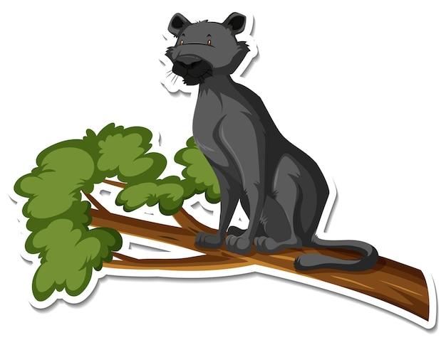 Una plantilla de etiqueta del personaje de dibujos animados de la pantera negra