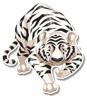 Una plantilla de etiqueta de personaje de dibujos animados de tigre