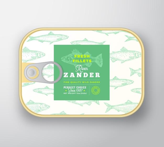 Plantilla de etiqueta de pescado enlatado. recipiente de aluminio de pescado abstracto con tapa de etiqueta.