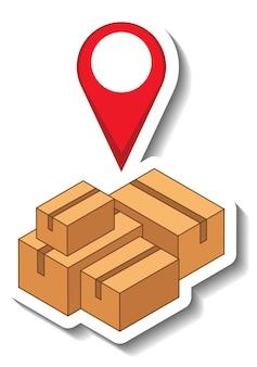 Una plantilla de etiqueta con pin de ubicación en muchas cajas aisladas
