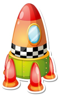 Una plantilla de etiqueta con rocket space cartoon aislado