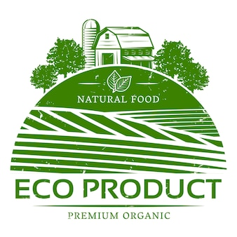 Plantilla de etiqueta verde agrícola natural vintage