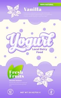 Plantilla de etiqueta de yogur de especias. diseño de envases lácteos vectoriales abstractos. banner de tipografía moderna con burbujas y flor de vainilla dibujada a mano con fondo de silueta de bosquejo de hojas. aislado.