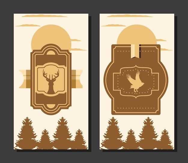 Plantilla de etiquetas de árboles de aves del bosque