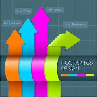 Plantilla de etiquetas de arco iris para infografías.