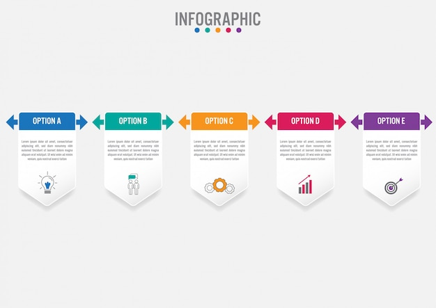 Plantilla de etiquetas de infografía de negocios con 5 opciones