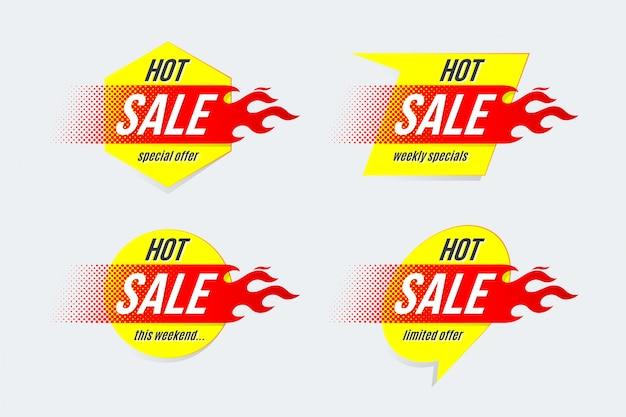 Plantilla de etiquetas de oferta de oferta de precio de venta de emblema