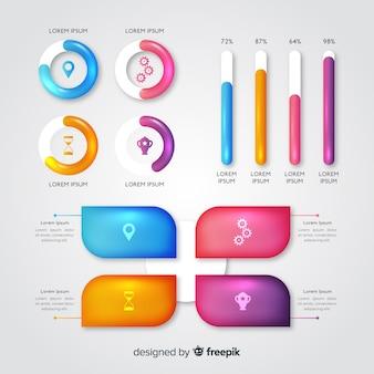 Plantilla de evolución infográfica brillante