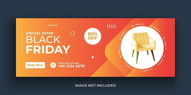 Plantilla exclusiva de portada de redes sociales de black friday