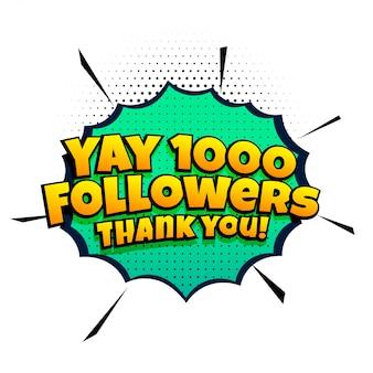 Plantilla de éxito de 1000 seguidores en estilo cómic