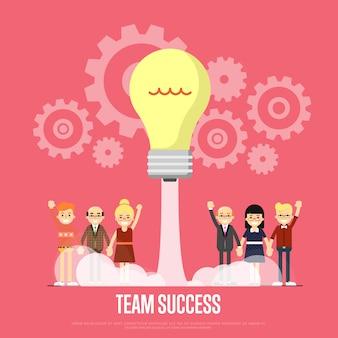 Plantilla de éxito del equipo con gente de negocios