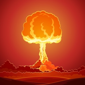Plantilla de explosión de bomba nuclear