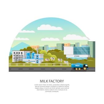 Plantilla de fábrica de leche