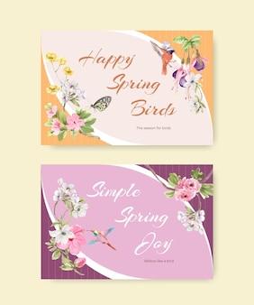 Plantilla de facebook con aves y concepto de primavera