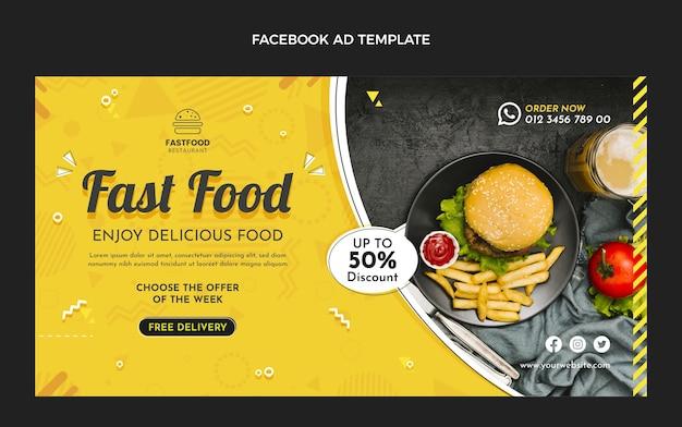 Plantilla de facebook de comida rápida de diseño plano