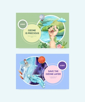 Plantilla de facebook con el concepto del día mundial del ozono, estilo acuarela