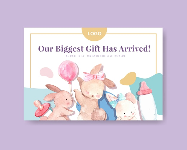 Plantilla de facebook con concepto de diseño de baby shower para redes sociales y marketing en línea ilustración vectorial de acuarela.