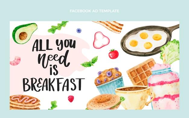 Plantilla de facebook de desayuno en acuarela