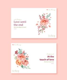 Plantilla de facebook con diseño de concepto de amor floreciente para redes sociales y comunidad en línea ilustración acuarela
