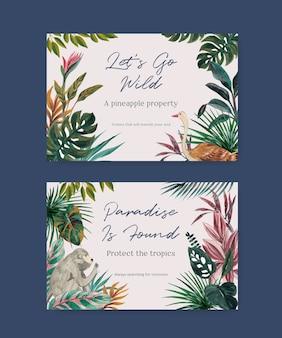 Plantilla de facebook con diseño de concepto contemporáneo tropical para redes sociales y marketing en línea ilustración acuarela
