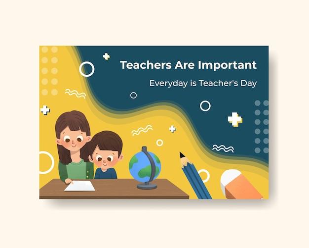 Plantilla de facebook con diseño de concepto del día del maestro