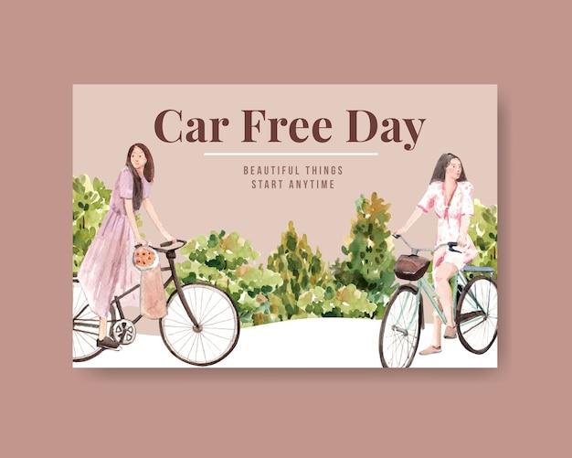 Plantilla de facebook con diseño de concepto del día mundial sin automóviles para redes sociales y acuarela de internet.