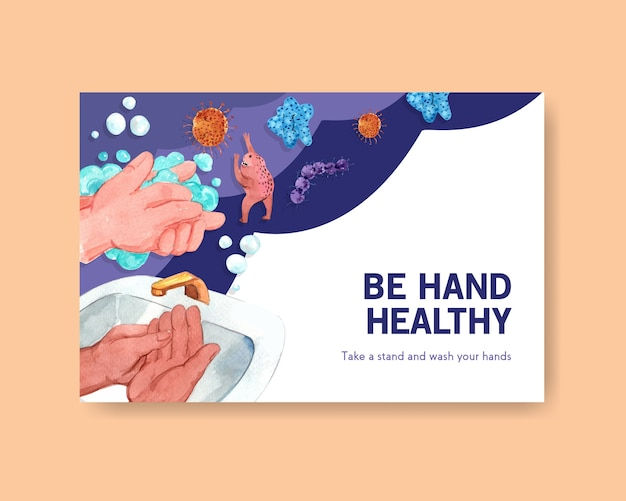 Plantilla de facebook con diseño de concepto del día mundial del lavado de manos