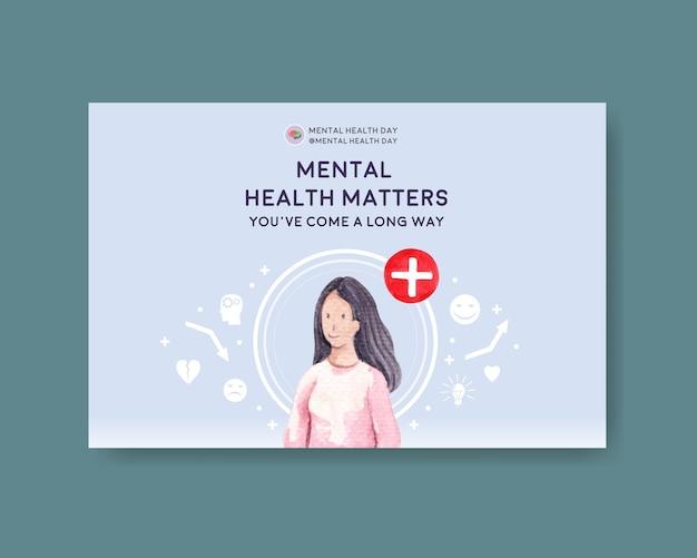 Plantilla de facebook con diseño de concepto del día mundial de la salud mental para redes sociales e ilustración de vector de acuarela de marketing en línea.