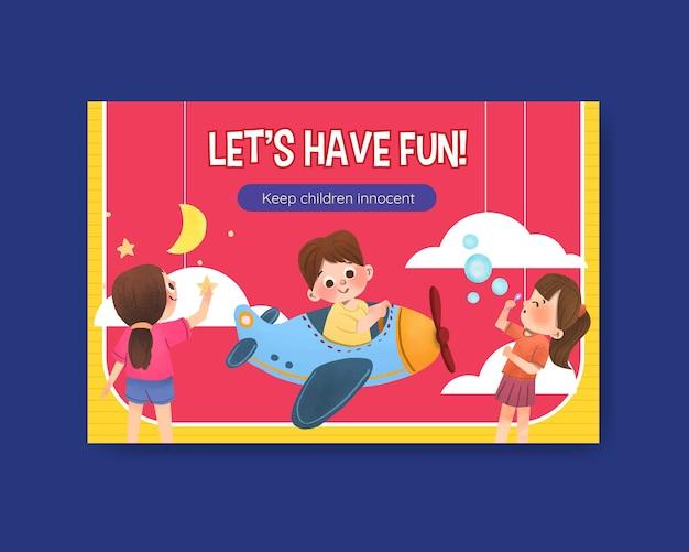 Plantilla de facebook con diseño de concepto del día del niño
