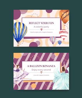 Plantilla de facebook con diseño de concepto de fiesta de globos para marketing digital e ilustración acuarela de redes sociales