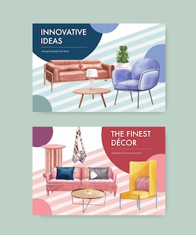Plantilla de facebook con muebles de lujo en estilo acuarela