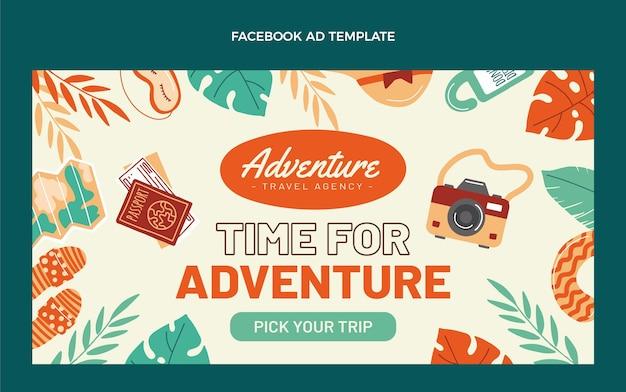 Plantilla de facebook de viajes de diseño plano