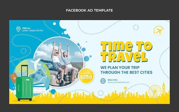Plantilla de facebook de viajes de estilo plano