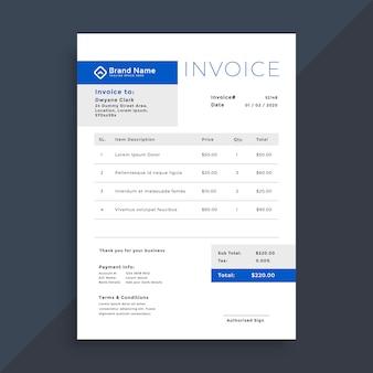 Plantilla de factura comercial azul elegante