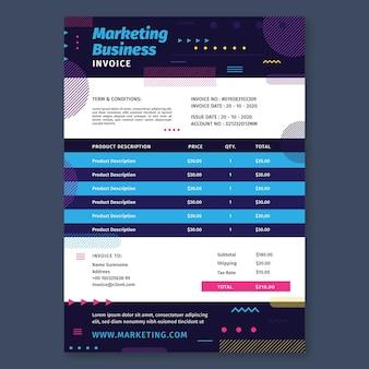 Plantilla de factura comercial de marketing