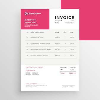 Plantilla de factura de estilo minimalista simple