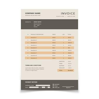 Plantilla de factura formulario de factura con tabla de datos e impuestos. diseño de documentos contables