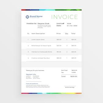 Plantilla de factura de negocios colorido mínimo