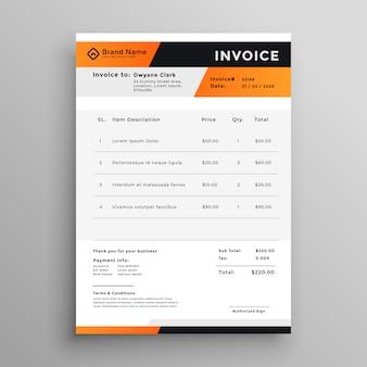 Plantilla de factura profesional naranja y negro