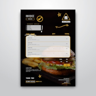 Plantilla de factura para restaurante de hamburguesas