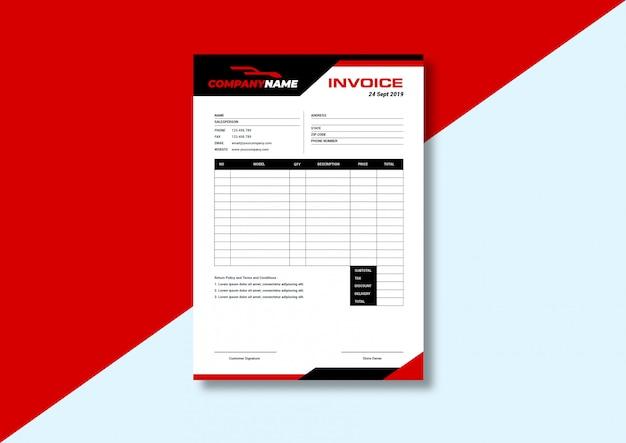Plantilla de factura roja moderna sólida