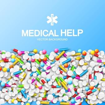Plantilla de farmacia ligera con cápsulas de colores, pastillas, tabletas y remedios en la ilustración azul