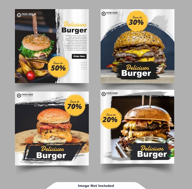 Plantilla de feed de redes sociales de instagram de comida de hamburguesa