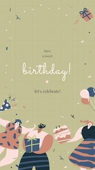 Plantilla de felicitación de cumpleaños con personajes de celebración