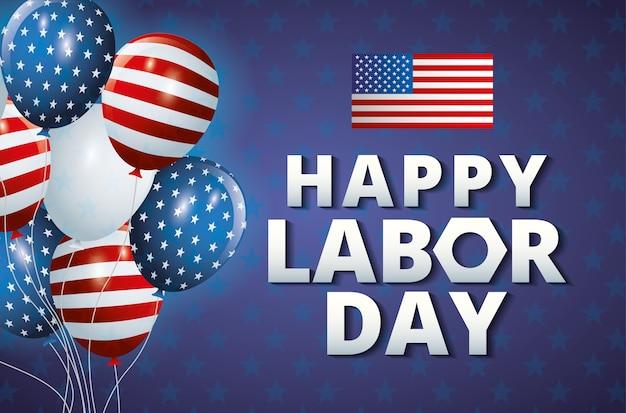Plantilla de feliz día del trabajo con globos y la ilustración de la bandera de estados unidos