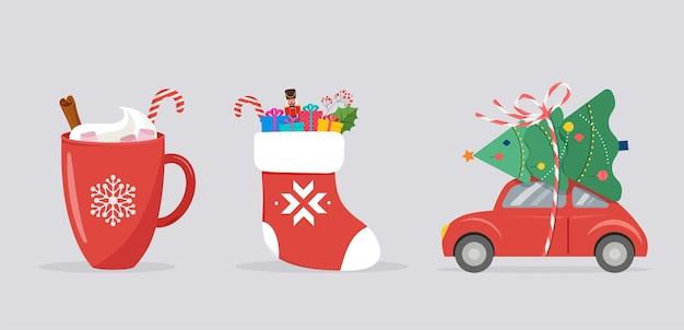 Plantilla de feliz navidad, banner con iconos de navidad