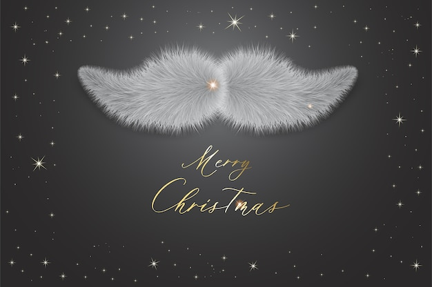 Plantilla de feliz navidad con bigote santa claus.