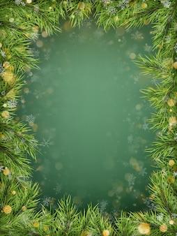 Plantilla de feliz navidad y feliz año nuevo con ramas de abeto de vacaciones, bokeh. vista superior.